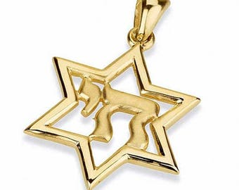 14K Gold Star of David + Chai pendant, Handcrafted in Jerusalem, Israel.