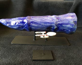 "Star Trek Planet Killer & Matching Enterprise Ship Models from ""The Doomsday Machine"" Episode, Hand Made, One of a Kind, Ceramic and Pewter"