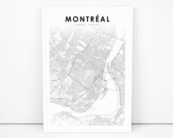 Canadian road map etsy montreal map print quebec qc canada map art poster city street road map print sciox Gallery
