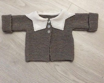 Baby jacket in pure wool (100% Merino), hand knitted Cardigan