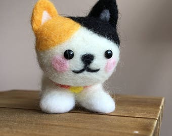 Needle Felted Calico Cat, Spotted Cat
