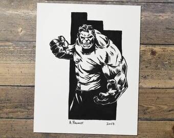 Hulk - Marvel - Fan Art - Hulk Print - Gift for Him
