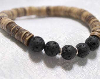"""8"""" stretch bracelet, 6mm lava beads and 5mm wood discs, essential oil diffuser"""