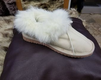 Greek Handmade GENUINE LEATHER & FUR Women's Slippers, Boots W/ Shoe Lace
