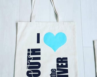 I Love South of the River 100% Cotton Tote Bag - Perfect Gift/Present (White and Blue)