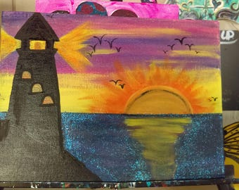 Lighthouse in the beautiful sunset canvas painting