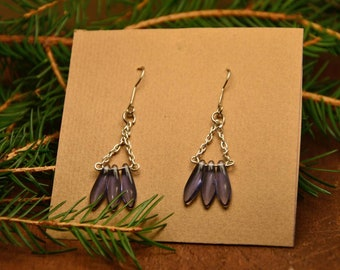 Ultra violet beaded earrings, boho chic earrings, bohemian feather earrings, minimal earrings, mother day gift, gift for mom, glass earring