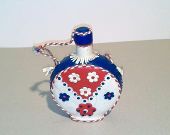 Vintage Flask With Leather/Mid Century Yugoslavia / Red Blue White