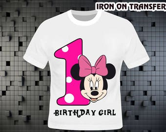 Minnie Mouse Iron On Transfer , Minnie Mouse Birthday Shirt DIY , Minnie Mouse Shirt DIY , Iron On Transfer , Digital File