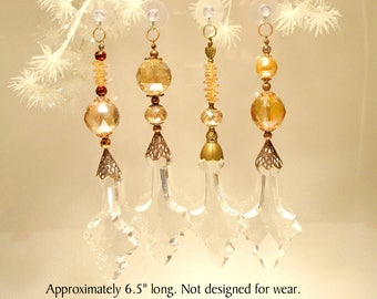 "Set of Sun Catchers ""Amber Lace"", Jewelry for Windows.  Gift, Garden, Souvenir, Christmas Ornament, Collectable"