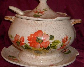 Vintage California Original Pottery Soup Tureen, Platter & Ladle