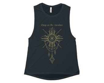 Womens Flowy Scoop Muscle Tank, Bring On The Sunshine, Yoga, Pilates, Workout, Running, Gym, Lifting, Workout Tank Top