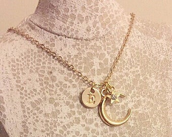 18k gold plated chain with initial, moon and rhinestone star charm necklace.