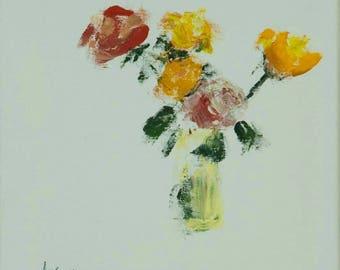 Original fine art painting flowers (acrylic on canvas)