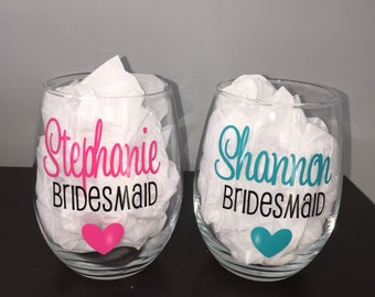 Bridesmaid Stemless Wine Glasses | Personalized Wine Glass | Custom Wine Glasses | Bridesmaid Gift | Wedding Gift | Bachelorette Party |