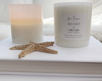 SEA SALT + ORCHID •  best seller, soy candle, beach candle, hand poured soy candle, vegan soy candle, natural candle