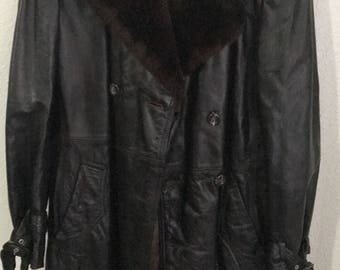 Size 40 Cortefiel Leather Trench Coat