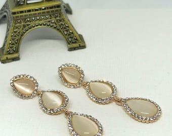 CZ Teardrop Bridal Earrings Wedding Earrings Rose Gold