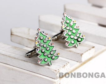 Christmas tree Cuff Links / Cufflinks