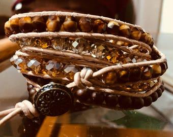 Leather beaded wrap bracelet