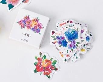 45 pcs Beautiful Flower Mini Paper Sticker / Cute Label Stickers / Mini Paper Stickers / Kawaii / Stationery / Cute Kawaii Stickers