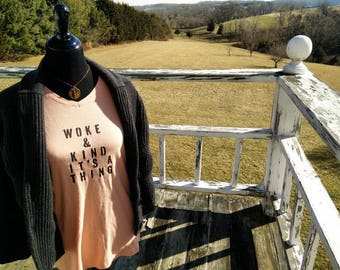 Kind & Woke It's A Thing Long Sleeve X- Large (16-18) peach colored tee Quality Thrifted Hand Stenciled