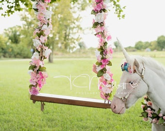 Unicorn and Floral swing outside Digital background