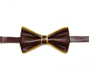 Brown Yellow Leather Bow Tie