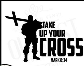 Christian shirt decals, Iron on transfers, Iron on decals, message, Christian soldier, Take up Your Cross, scripture decal, heat transfer
