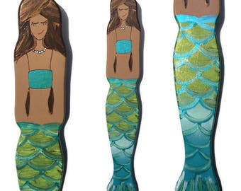 Mermaid Wall Art - Hand Painted Metallic Green Fins with Blue Fish Scale Detail - Blonde - Brunette - Red Head