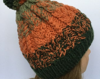Braided Cable Green Orange Hat with Pom Pom, Cable Knited Beanie, Ski Snowboard, 100 % Wool