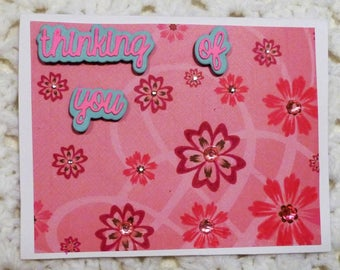 "Handmade Greeting Card,  4.2""5x5.5"" Greeting Cards, Thinking of You Pink Greeting Card, Made in the USA, #182"