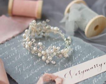 Wedding bracelet Bridal bracelet Pearl bracelet Freshwater pearl bracelet Silver bracelet Bridal jewelry set Wedding jewelry