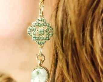 Green druzy drop earrings