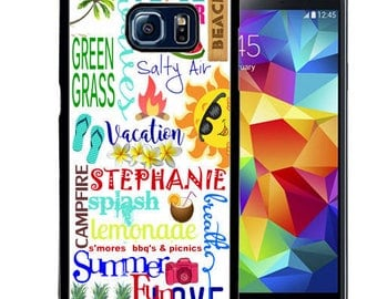 Personalize Rubber Case For Samsung Note 3, Note 4, Note 5, or Note 8- Summer Typography Flip Flops