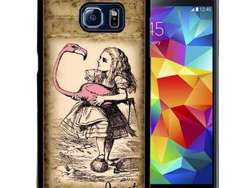 Personalized Rubber Case For Samsung S5, S6, S6 edge, S6 Edge Plus, S7, S7 Edge,  8, 8 plus - Wonderland Flamingo