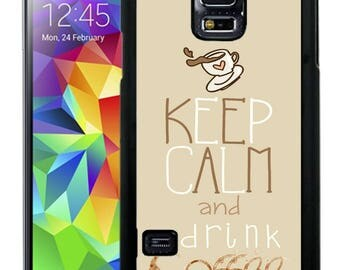 Rubber Case For Samsung Note 3, Note 4, Note 5, or Note 8- Keep Calm Drink coffee