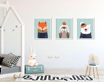 3 in 1 Christmas Woodland SET 2, Nursery Woodland, Christmas Prints, Christmas Decoration, Holiday Decor