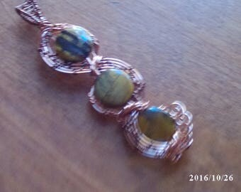 Tiger's Eye and copper wire wrapped pendant