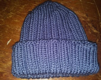 Blue ribbed knit hat