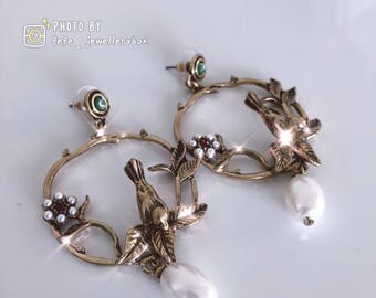 European style 3D Bird Preal earrings