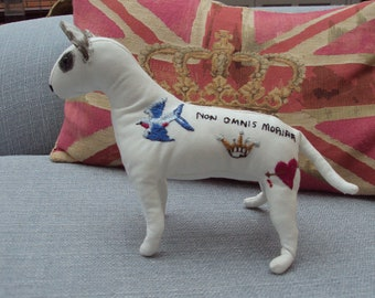 Handcrafted and tattoo embroidered English Bull Terrier soft sculpture