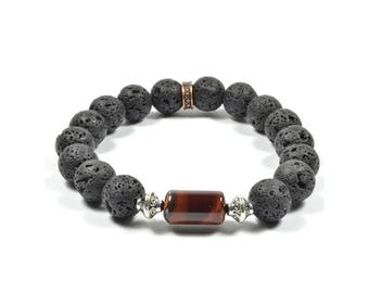 Lava Rock and Red Tiger Eye Bracelet