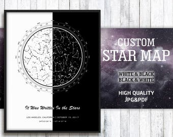 Star Map Custom, Night Sky Print, Custom Star Map, White And Black Prints, Black And White Map, Constellation Map Custom, Star Map Art, Pdf