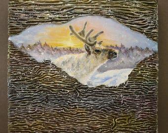 Christmas oil painting Xmas reindeer art Reindeer wall art Deer art gift idea Xmas painting gift Reindeer gift idea Texture oil painting