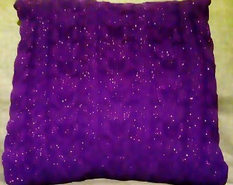 Hand knitted sparkly cabled cushion cover, 18x18in/46x46cm