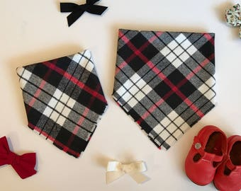 Black and Red Plaid Infant and Toddler Blanket Scarf Bandana Bib, baby shower gift, baby bib, expectant mother gift