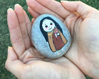 Hand Painted Saint Thérèse of Lisieux Rock, Catholic, Saint, Painted Rock
