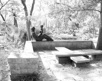 Wall Decor, Black and White Photography of Mother and Child Sculpture, Umlauf Sculpture Garden, New Apartment Gifts, Wall Hanging, Austin