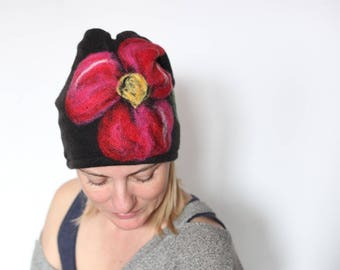 wool felted heat women's hat Womens winter hats, Knit wool hats, Winter warm hats, Wool slouchy beanie, Warm slouchy hats gift, flower hat